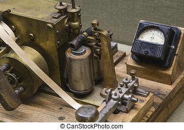viejo, telégrafo, para, comunicación
