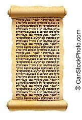 viejo, texto, hebreo, papiro, aislado, sin, rúbrica, textured, sentido, blanco, cualesquiera