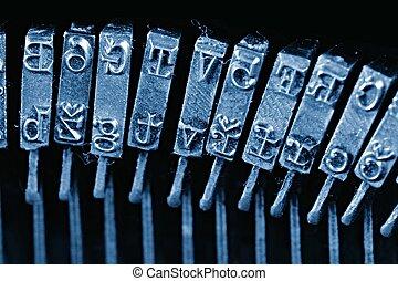viejo, texto impreso, llaves, vendimia, brazos, tradicional, characters., máquina de escribir