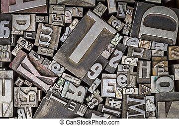 viejo, texto impreso, metal, tipo, imprimir bloquea