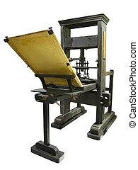 viejo, texto impreso, vendimia, manual, aislado, máquina, impresión, plano de fondo, blanco