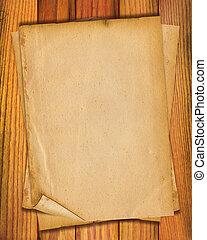 viejo, texto, papeles, madera, plano de fondo, escritorio