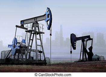 viejo, trabajando, petróleo bombea