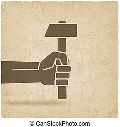 viejo, trabajando, símbolo, mano, plano de fondo, martillo
