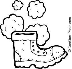 viejo, trabaje bota, caricatura