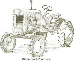 viejo, tractor