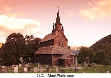 viejo, travesaño, kaupanger, ocaso, iglesia, noruega