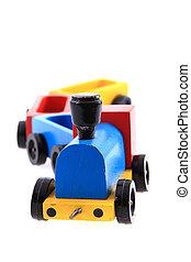 viejo, tren de madera, juguete
