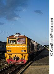viejo, tren, en, el, estación