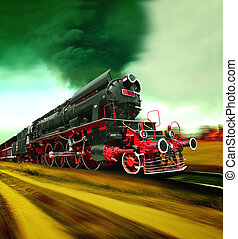 viejo, tren vapor, motor