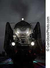 viejo, tren vapor