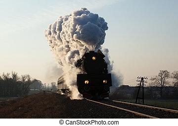 viejo, tren vapor, retro