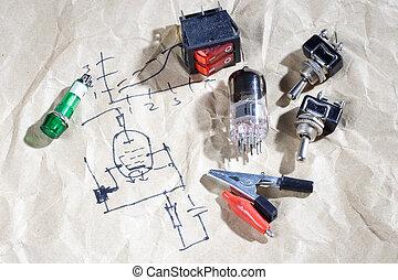 viejo, tubo de vacío, con, eléctrico, esquema, plano de fondo