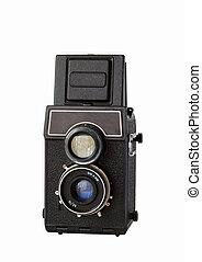 viejo, twin-lens, reflejo, cámara