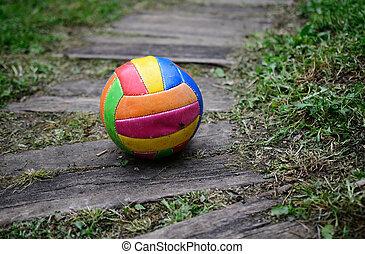 viejo, usado, voleibol