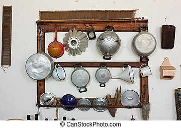 viejo, utensillos de cocina