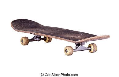 viejo, utilizado, de madera, monopatín