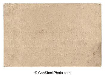 viejo, vacío, postal, aislado, blanco
