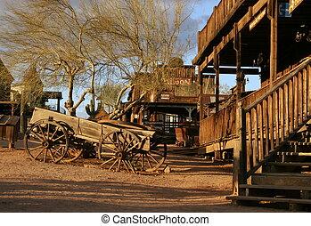 viejo, vagón, en, pueblo fantasma