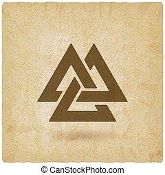 viejo, valknut, símbolo., plano de fondo, triángulos,...