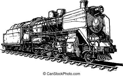 viejo, vapor, locomotora