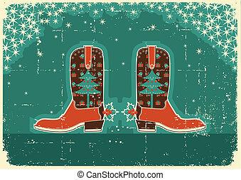 viejo, vaquero, textura, decoración, papel, botas, feriado,...