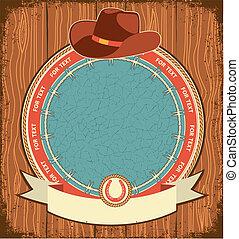 viejo, vaquero, textura, etiqueta, madera, occidental, plano...