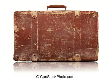 viejo, vendimia, aislado, plano de fondo, maleta, blanco