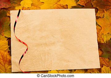 viejo, vendimia, hoja en blanco, de, papel, en, colorido, arce, leaves., acción de gracias, autumn.