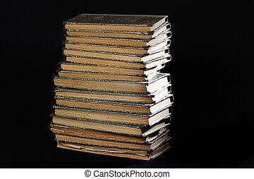 viejo, vendimia, libros, en, un, fondo negro