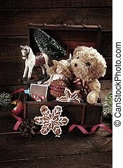viejo, vendimia, pecho de tesoros, juguetes, navidad
