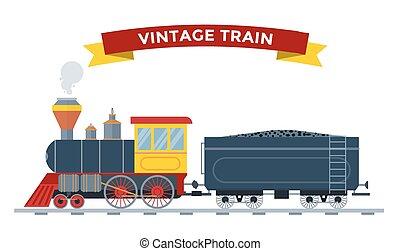 viejo, vendimia, tren, colección, vector, retro, transporte