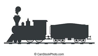 viejo, vendimia, tren, vector, negro, retro, transporte, ...