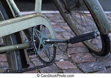 viejo, verde, bicicleta