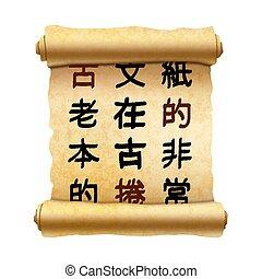 viejo, vertical, textured, papiro, rúbrica, con, antiguo, chino, jeroglíficos, blanco