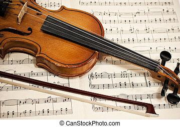 viejo, violín, y, arco, en, notas musicales