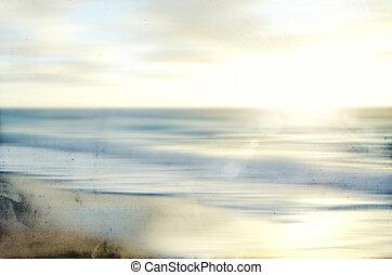 viejo, vista marina, resumen, movimiento velado, papel, mar, panning
