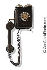 viejo, wall-mounted, teléfono negro