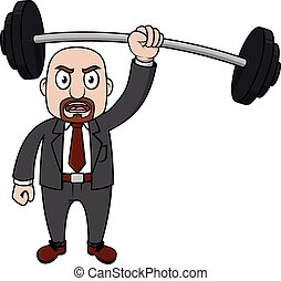 viejo, weightlifting, hombre de negocios