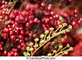 viejo, winterberry, decoración de navidad, verticillata, madera, acebo, ilex, o