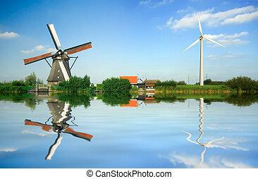 viejo y nuevo, energía eólica