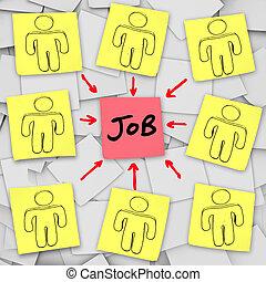 viele, arbeitslos, eins, arbeit, kandidaten, konkurrieren