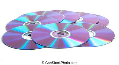 viele, aus, weißer hintergrund, dvds