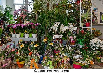 viele, blumen, und, sträuße, stehen, in, a, florist's, laden