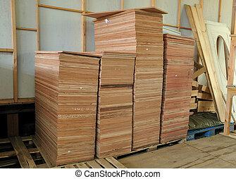 viele, bretter, sperrholz, stapel