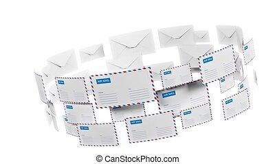 viele, briefe, fliegen, in, a, circle., internet, mail.,...