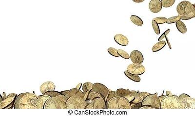 viele, dollar, geldmünzen, weiß, hintergrund
