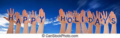 viele hände, gebäude, wort, glücklich, feiertage, blaues, trüber himmel