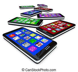 viele, klug, telefone, mit, apps, auf, berühren, schirme