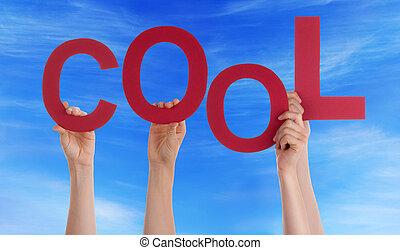 viele, leute, hände, besitz, rotes , wort, kühl, blauer himmel